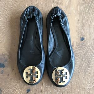 Tory Burch black leather and gold flats 6